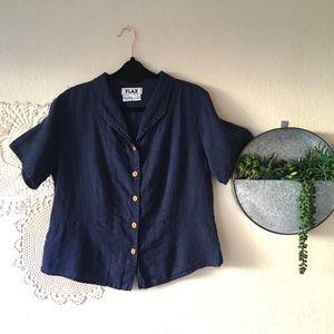 FLAX navy blue linen button front short sleeve top